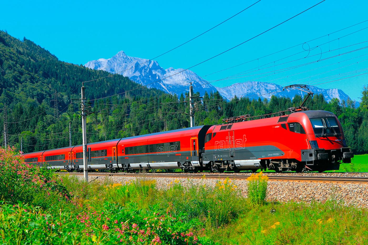 OeBB pociąg RailJet w Austrii
